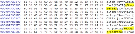 Figure 10. Excerpt of a fully decrypted Dashlane XML password database in an unlocked and locked state.