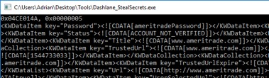 Figure 12. Extracting secrets from a locked instance of Dashlane.