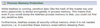 Figure 13. KeePass statement on memory protection.