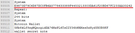 Figure 16. Locating a bitcoin private key via its corresponding public key/username.