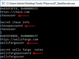 Figure 8. Extracting password entries from a locked instance of 1Password7.